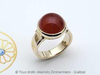 Bague Or Cornaline 12 mm