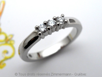 Bague Palladium Diamants 3 X 5/100 ct