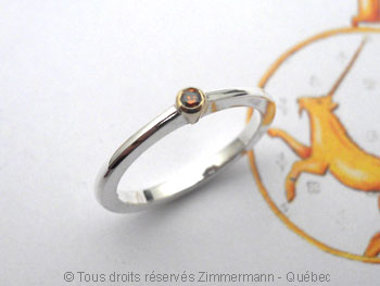 Solitaire Argent-Or Diamant Orange (H) 3/100 ct